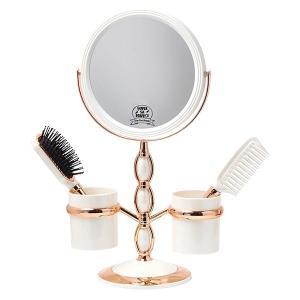 拡大鏡 両面鏡 卓上鏡 スタンドミラー(鏡 ミラー  卓上 化粧鏡 スタンド 卓上) (普通鏡 拡大鏡5倍 両面鏡)(角度調節可):GdS10066dA kagami 02