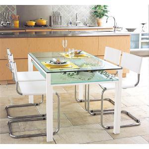 ガラステーブル、ガラス テーブル、テーブル ガラス、ダイニングテーブル、リビングテーブル、オフィステーブル(天板:透明ガラス、棚板:フロストガラス)|kagami