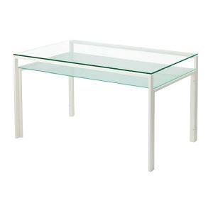 ガラステーブル、ガラス テーブル、テーブル ガラス、ダイニングテーブル、リビングテーブル、オフィステーブル(天板:透明ガラス、棚板:フロストガラス)|kagami|02
