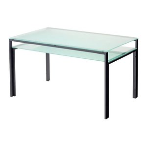 ハイテーブル、ハイ テーブル、リビングテーブル、ガラステーブル、ガラス テーブル、テーブル ガラス(天板:透明ガラス、棚板:フロストガラス)|kagami