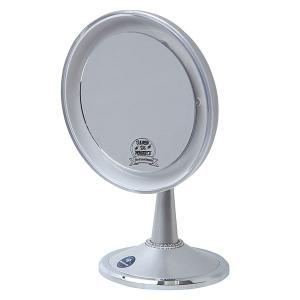 卓上鏡 スタンドミラー メーキャップミラー 化粧鏡 洗面所 鏡(LED付き 拡大鏡5倍 片面鏡)(シルバー)(角度調節可):LdM209d3SV|kagami