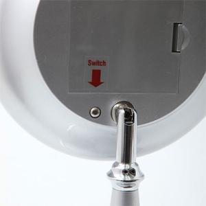卓上鏡 スタンドミラー メーキャップミラー 化粧鏡 洗面所 鏡(LED付き 拡大鏡5倍 片面鏡)(シルバー)(角度調節可):LdM209d3SV|kagami|03