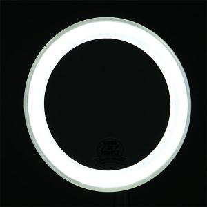 卓上鏡 スタンドミラー メーキャップミラー 化粧鏡 洗面所 鏡(LED付き 拡大鏡5倍 片面鏡)(シルバー)(角度調節可):LdM209d3SV|kagami|04