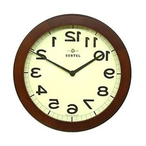時計 クロック 掛け時計 掛時計 壁掛け時計(逆転時計、脳トレ!理髪店や美容室にもお勧め)(ブラウン色):QsL88t9BR|kagami