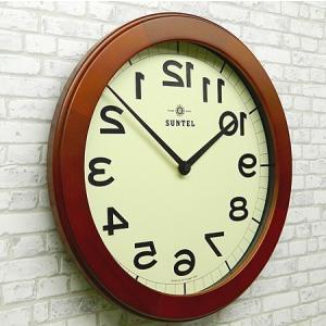 時計 クロック 掛け時計 掛時計 壁掛け時計(逆転時計、脳トレ!理髪店や美容室にもお勧め)(ブラウン色):QsL88t9BR|kagami|02