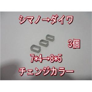 送込 [3個] シマノ → ダイワ ハンドル ナット径 チェンジ カラー 7*5→8*5穴 アダプター 香川塩ビ工業 スペーサー アダプタ アジャスタ