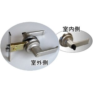 AGENT LB-1000 浴室 間仕切り レバーハンドル錠 ドアノブ 交換 バックセット100mm 内側:サムターン /外側:非常開錠装置|kagiproshop