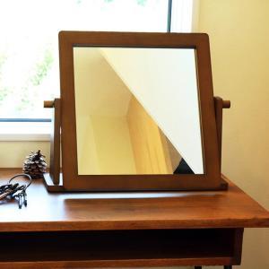 【送料無料】 卓上ミラー デスクミラー 卓上鏡  ■商品ポイント 木製のシンプルな卓上ミラー。 大き...