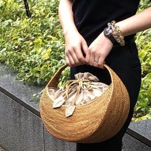 アタバッグ カゴバッグ バリ島 カジュアル モダン 着物コーデ 巾着 浴衣 高級 かご 籠バッグ ハンドバッグ 三日月型内布付 ATA-131|kagocierge