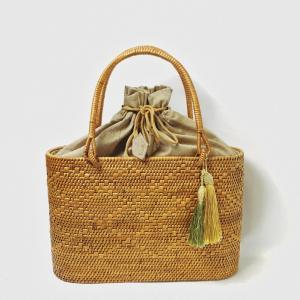 アタバッグ カゴバッグ バリ島 おしゃれ モダン ハンドバッグ  エスニック オーバル型内布巾着 網目均一 ギフトに最適 プレゼント用バッグ 直輸入 ATA-140|kagocierge