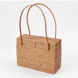 アタバッグ カゴバッグ バリ島 おしゃれ モダン 手作り ハンドバッグ かごバッグ 和装バッグ 籠 長方形 蓋付「幅30cm」  No200a|kagocierge