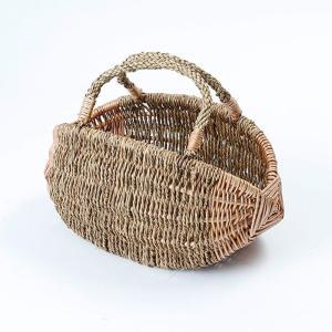 かごバッグ カゴバッグ 当社オリジナル品 柳製 ラクビーボール型かごバッグ Sサイズ 個性的  持ち手可動式 ピーナッツ型 デコバッグ アレンジ D44 Sサイズ|kagocierge