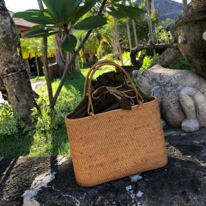 アタバッグ カゴバッグ バリ島 着物 モダン ハンドバッグ 和服 浴衣 ハイグレード 高級 かご 籠バッグ 和装バッグ 巾着 オーバル型内布付 No125|kagocierge