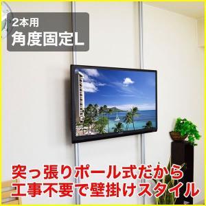 壁掛け風 壁寄せテレビスタンド 37-65V型対応 エアーポール 2本タイプ 角度固定L シルバー ap-141 エモーションズ kagu-11myroom