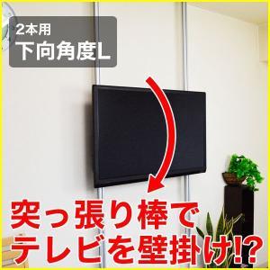 壁掛け風 壁寄せテレビスタンド 37-65V型対応 エアーポール 2本タイプ 下向角度L シルバー ap-148 エモーションズ kagu-11myroom