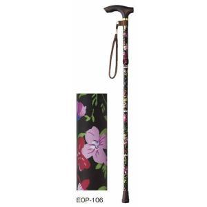 杖 ステッキ 杖 折りたたみ 軽量 伸縮ステッキ ハッピーステッキ 折りたたみ杖高さ調節付 EOP-106 花柄 幸和製作所 kagu-11myroom