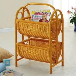 マガジンラック 木製 ラタンバスケット 2段 籐家具 IMR267 今枝商店|kagu-11myroom