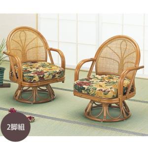籐椅子 籐の椅子 回転座椅子 ラタン 椅子 ハイタイプ2脚セット 座面高31cm IMS34set 今枝商店|kagu-11myroom