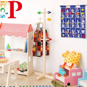 子供用ポールハンガー 子供家具 子供部屋 収納 おしゃれ 天然木 Picc's KDH-2642WH 市場家具|kagu-11myroom