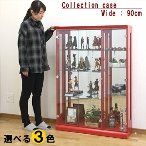 コレクションケース コレクションボード キュリオケース コレクション収納 フィギュアケース 90幅 幅90cm 木製 ホワイト レッド 大川家具 アウトレット価格並|kagu-1