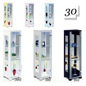 コレクションケース 幅30 コレクションボード フィギュアケース ガラスケース キャビネット ホワイト ブラック ガラス棚 バックミラー 北欧 アウトレット価格並|kagu-1