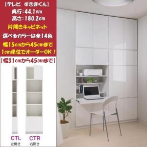 テレビ すきまくん LSK-CT 片開きキャビネット 幅31cm-45cm ラックと扉付 kagu-hiraka