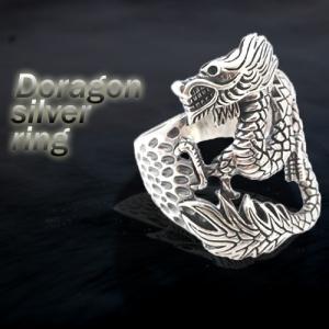 龍 ドラゴンの装飾 メンズジュエリーシルバー925 ゴツめ|kagu-piena