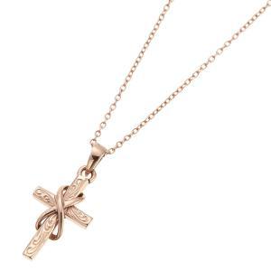 ネックレス サージカルステンレス ハワイアンジュエリー クロス 十字架 波 スクロール 40cm|kagu-piena