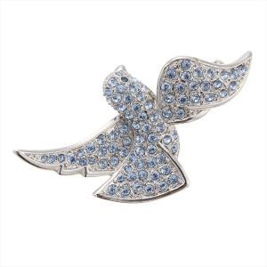 ピンブローチ レディース 鳩 ハト 平和と幸せの象徴 ラインストーン キラキラ ピンズ スカーフ止め|kagu-piena