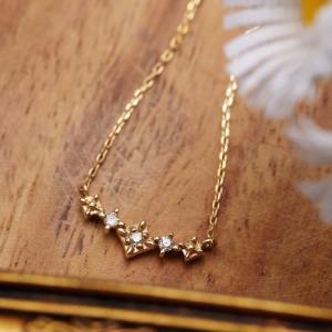 K10 スクエアモチーフの中に0.03ctの天然ダイヤモンドが輝くネックレス ミル打ちデザインとの5連タイプ あずきチェーン ダイアモンドの宝石鑑別書|kagu-piena
