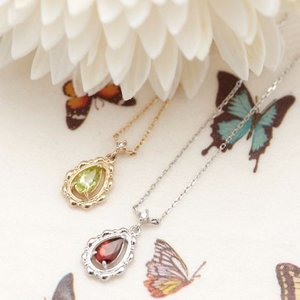 K10WG K10 0.01ctの天然ダイヤモンドと雫型天然石のネックレス あずきチェーン ダイアモンドの宝石鑑別書カード付き ティアドロップ パワー|kagu-piena