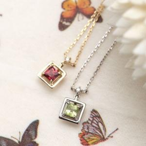 K10WG K10 0.01ctの天然ダイヤモンドとスクエアカット天然石のネックレス あずきチェーン ダイアモンドの宝石鑑別書カード付き パワーストー|kagu-piena