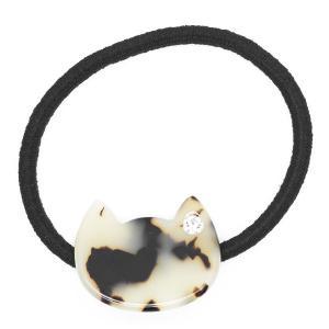 ヘアアクセサリー ヘアゴム ネコ 猫 キャット アニマル 動物 マーブル べっ甲 ラインストーン シンプル 可愛い 髪留め おそろい|kagu-piena