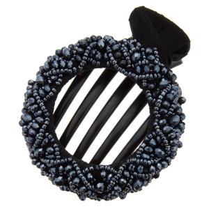 サークル形バンスクリップ ビジューリング ヘアクリップ ビーズ シック 円 丸形 大人かわいい 上品 大振り ブラック 黒 ネイビー レディース メール便 送料無料|kagu-piena