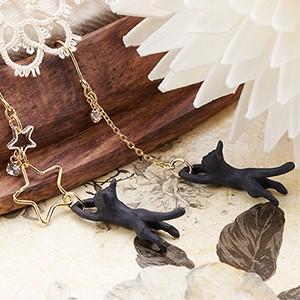 ジプシーピアス スワロフスキー アシンメトリーデザイン 猫 ネコ 黒ねこモチーフ 星に飛びつくネコが...