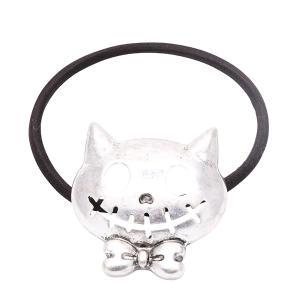 ヘアアクセサリー ヘアゴム ヘアポニー ハロウィン HAPPY HALLOWEEN 猫 おばけネコ アンティーク パーティー オシャレ kagu-piena