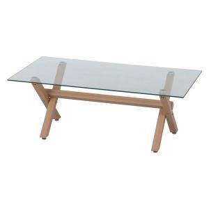 センターテーブル ガラス天板 フィルム無 ナチュラル 幅110×奥行60×高さ40cm 組立品〔代引不可〕 kagu-plaza