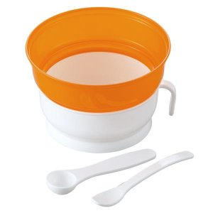 お米からでもご飯からでも離乳食用のおかゆが作れる、電子レンジ専用のおかゆクッカーです。調理したカップ...