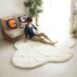 洗える 雲ラグ ふわふわ 雲型 おしゃれ シャギーラグ 大判タイプ 約190x235cm|kagu-refined