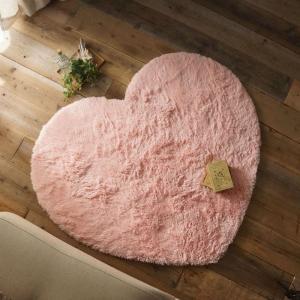 洗える ふわふわピンクのハート型おしゃれラグ 約130x150cm|kagu-refined