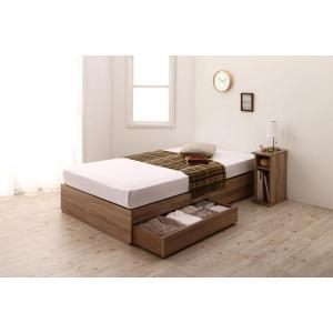 ショート丈ベッド セミシングル ベッドフレームのみ おしゃれ 小さいベッド 引出し コンパクト 収納ベッド スリム棚セット セミシングル ショート丈|kagu-refined