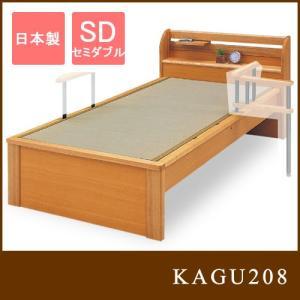 国産 日本製 ブラックアッシュ ルナ2 SD畳ベッド ヘッドシェルフ1個付き・宮付き セミダブル ベッドフレーム|kagu208