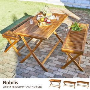 【3点セット】ガーデンセット テーブル ベンチ ガーデンファニチャー コンパクト120 折りたたみ式 チーク|kagu350