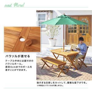 【3点セット】ガーデンセット テーブル ベンチ ガーデンファニチャー コンパクト120 折りたたみ式 チーク kagu350 11