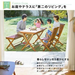 【3点セット】ガーデンセット テーブル ベンチ ガーデンファニチャー コンパクト120 折りたたみ式 チーク kagu350 03