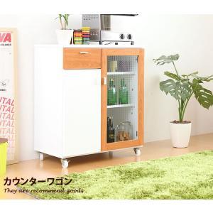 PULK パルク キッチン収納 キッチンカウンター 幅70cm 引出し 小物 食器棚 日本製 カウンターワゴン ワゴン テーブル モダン 収納 レンジ台 間仕切り kagu350