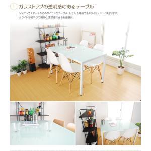 テーブル ダイニングテーブル ダイニング ガラス ガラステーブル ホワイト ブラック スチールシンプル コンパクト 4人掛 モダン 幅120cm|kagu350|02