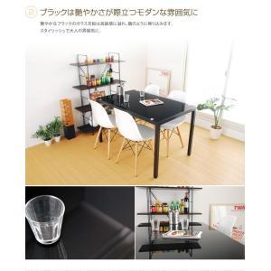 テーブル ダイニングテーブル ダイニング ガラス ガラステーブル ホワイト ブラック スチールシンプル コンパクト 4人掛 モダン 幅120cm|kagu350|03