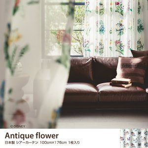 『ミッキーマウス』のカーテンシリーズ【Antique flower】。落ち着いた雰囲気の花々とさりげ...
