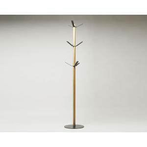 [国産]フックとベースにスチールを、支柱に竹集成材を使用した竹のコートハンガーです。フックが回転する...